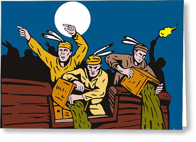 Protest Greeting Cards - Boston Tea Party Raiders Retro Greeting Card by Aloysius Patrimonio