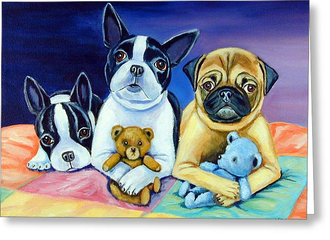 Boston Terrier Greeting Cards - Boston Terrier and Pug puppies PJ Party Greeting Card by Lyn Cook