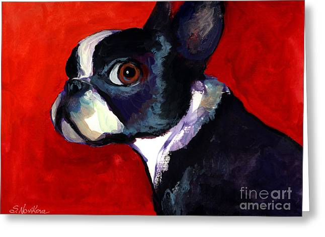 Commissioned Portraits Greeting Cards - Boston Terrier dog portrait 2 Greeting Card by Svetlana Novikova