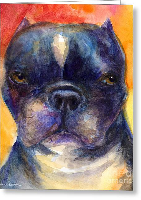 Toy Dog Drawings Greeting Cards - Boston Terrier dog portrait painting in Watercolor Greeting Card by Svetlana Novikova