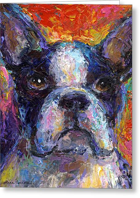 Commissioned Portraits Greeting Cards - Boston Terrier Impressionistic portrait painting Greeting Card by Svetlana Novikova