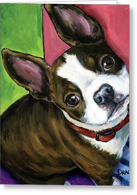 Brindle Greeting Cards - Boston Terrier Looking Up Greeting Card by Dottie Dracos