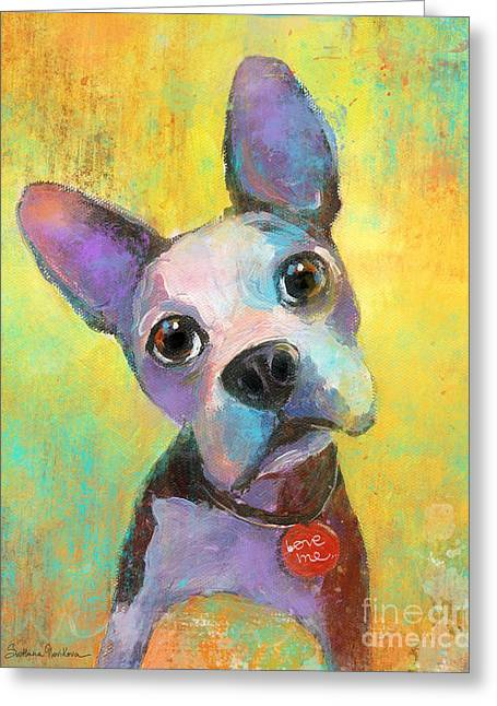 Puppies Print Greeting Cards - Boston Terrier Puppy dog painting print Greeting Card by Svetlana Novikova