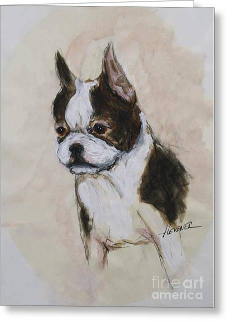 Boston Terrier Watercolor Greeting Cards - Boston Terrier Puppy Love Greeting Card by Ron Hevener