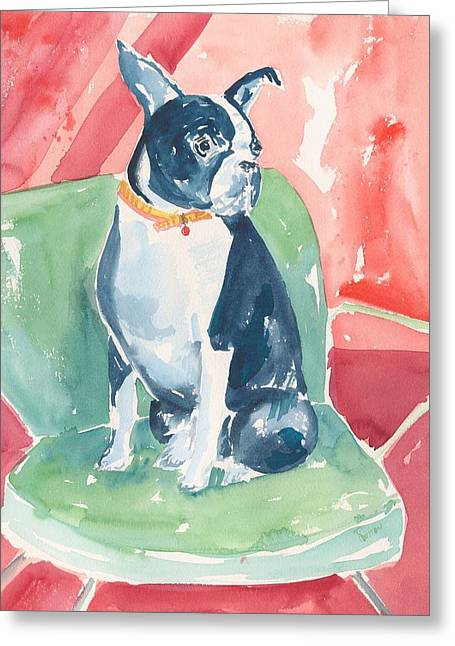 Boston Terrier Watercolor Greeting Cards - Boston Terrier Greeting Card by Rachel Dutton
