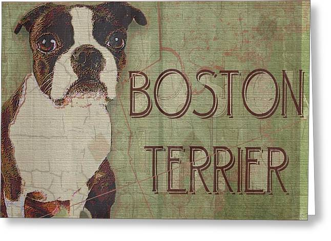 Boston Terrier Framed Prints Greeting Cards - Boston Terrier Greeting Card by Wendy Presseisen