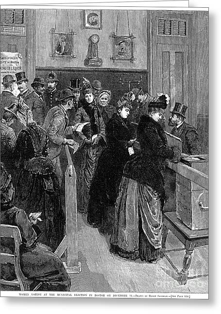 Democratic System Greeting Cards - Boston: Women Voting, 1888 Greeting Card by Granger