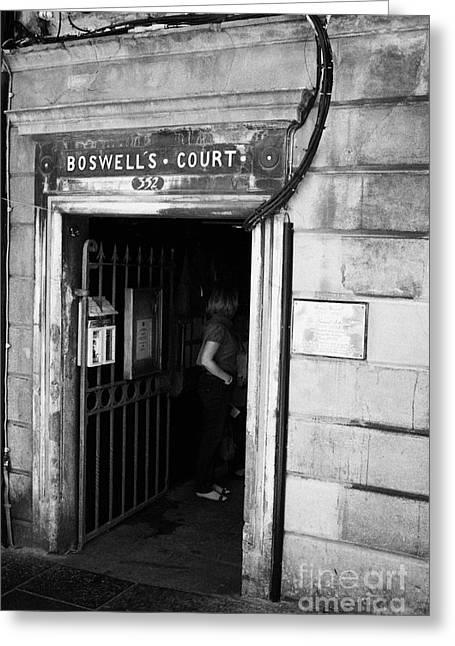 Centre Court Greeting Cards - Boswells Court Close Entrance Edinburgh Scotland Uk United Kingdom Greeting Card by Joe Fox