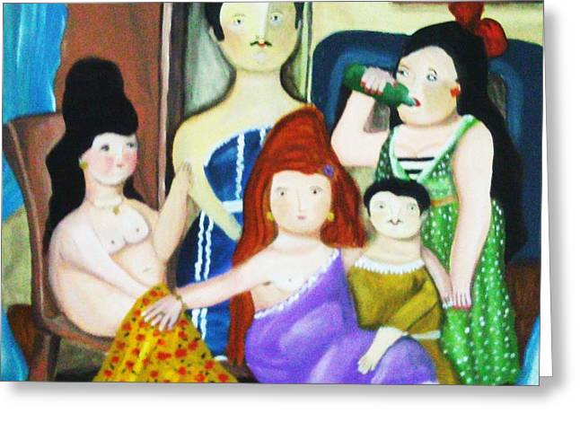 Orange And Brown Wings Paintings Greeting Cards - Botero Style Family Greeting Card by Vickie Meza