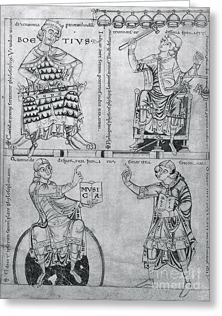 Portrait Woodblock Greeting Cards - Boëthius, Medieval Philosopher Greeting Card by Photo Researchers