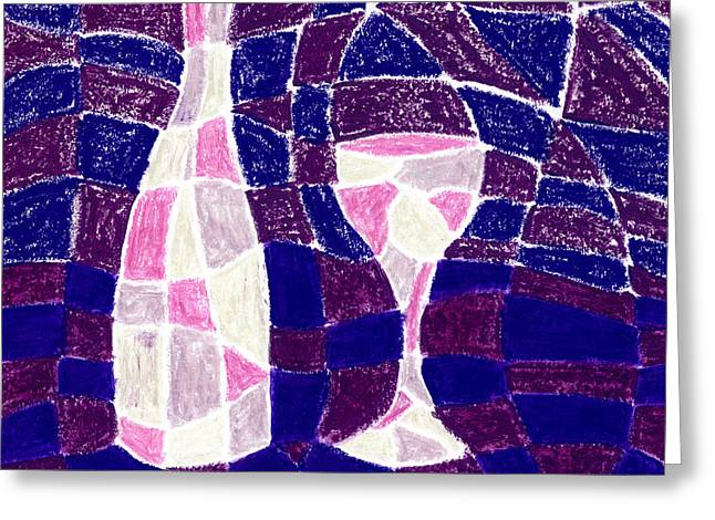 Checker Pastels Greeting Cards - Bottle and Glass 3 Greeting Card by Hakon Soreide