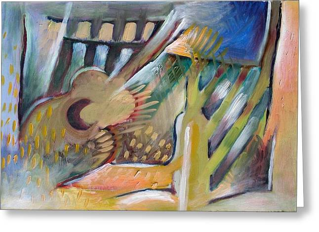 Interior Still Life Greeting Cards - Bottle and guitar 2 Greeting Card by Piotr Antonow