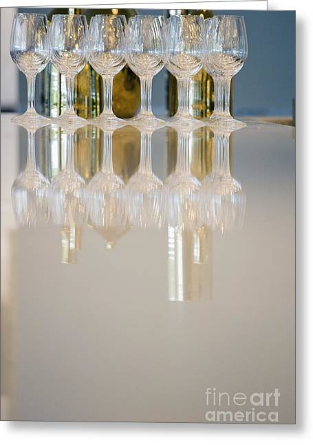 Glass Table Reflection Greeting Cards - Bottle of Wine and Glasses on Counter Greeting Card by Shannon Fagan