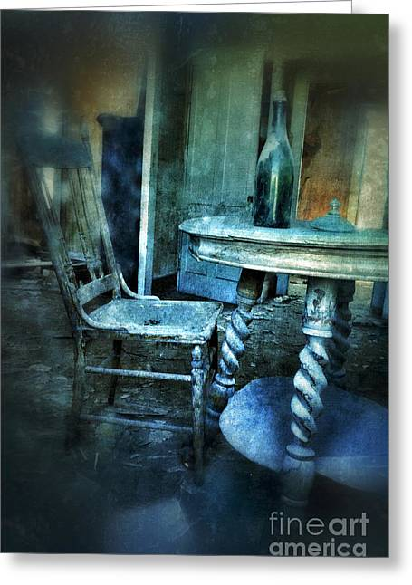 Bottle On Table In Abandoned House Greeting Card by Jill Battaglia