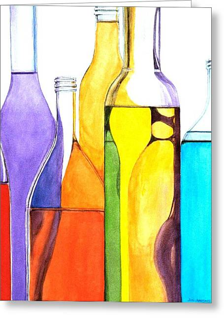 Bottles Greeting Cards - Bottled Rainbow 1 Greeting Card by Jun Jamosmos