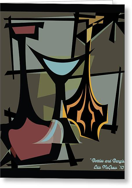 Decanters Digital Art Greeting Cards - Bottles and Bangles  Greeting Card by Eric  McGrew