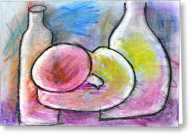 Bottled Pastels Greeting Cards - Bottles and Pot Greeting Card by Rae Hauck