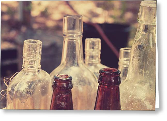 Fine Bottle Greeting Cards - Bottles behind the old Saloon Greeting Card by Toni Hopper