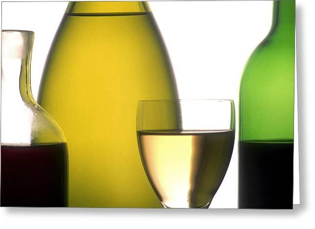 Beverage Greeting Cards - Bottles of variety vine Greeting Card by Bernard Jaubert