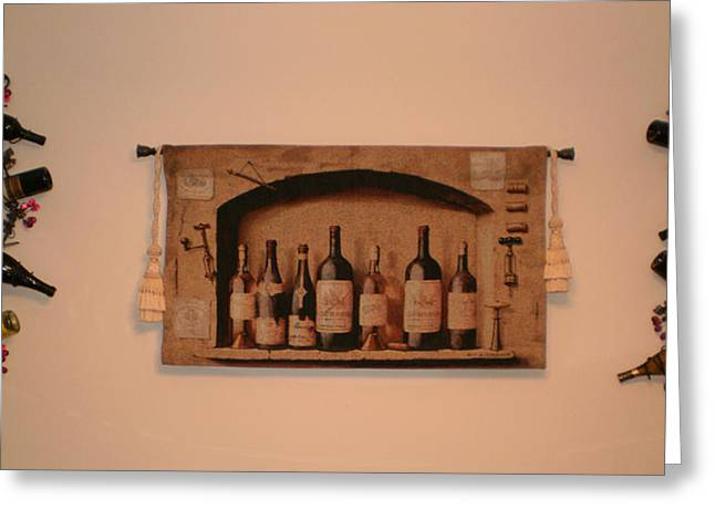Wine Tapestries - Textiles Greeting Cards - Bottles Of Wine Greeting Card by Charlotte EVONNE Comfort