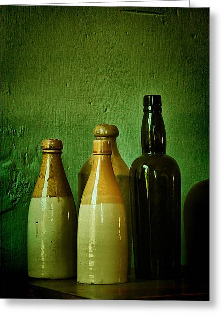 Bishop Hill Greeting Cards - Bottles Greeting Card by Zeus  Montalvo