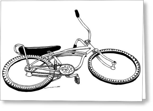 Bottom Up Bike Greeting Card by Karl Addison