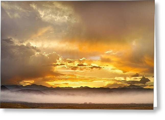 Colorado Wildfires Greeting Cards - Boulder Colorado Flagstaff Fire Sunset View Greeting Card by James BO  Insogna
