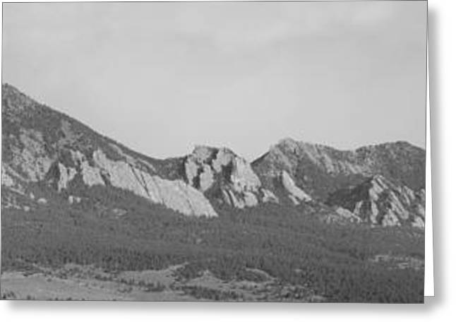 Rocky Mountain Foothills Greeting Cards - Boulder Colorado Flatiron Front range Panorama BW Greeting Card by James BO  Insogna