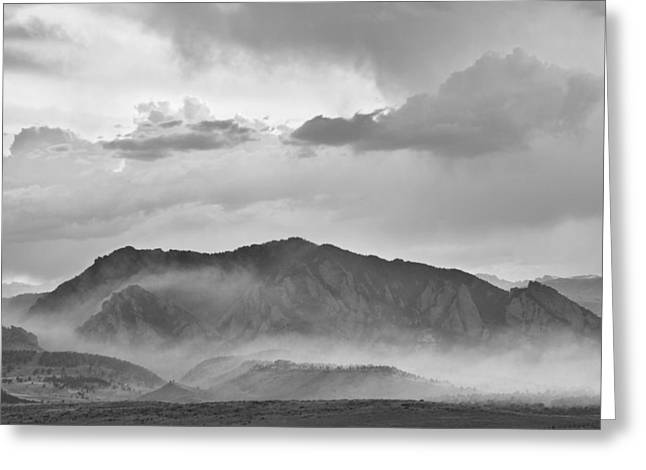 Flagstaff Greeting Cards - Boulder Colorado Flatirons and The Flagstaff Fire BW Greeting Card by James BO  Insogna