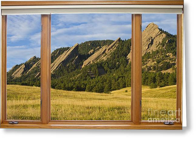 Boulder Colorado Flatirons Window Scenic View Greeting Card by James BO  Insogna