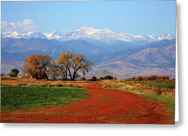 Boulder County Colorado Landscape Red Road Autumn View Greeting Card by James BO  Insogna