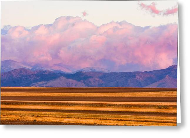 Lightning Photographer Greeting Cards - Boulder County Farm Fields At First Light Sunrise Greeting Card by James BO  Insogna