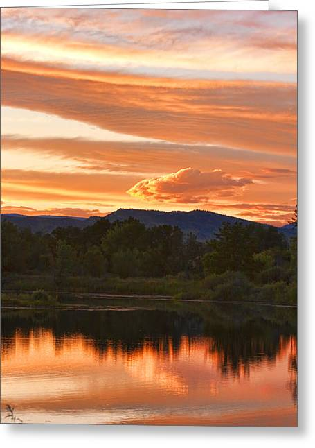 Sunset Posters Greeting Cards - Boulder County Lake Sunset Vertical Image 06.26.2010 Greeting Card by James BO  Insogna