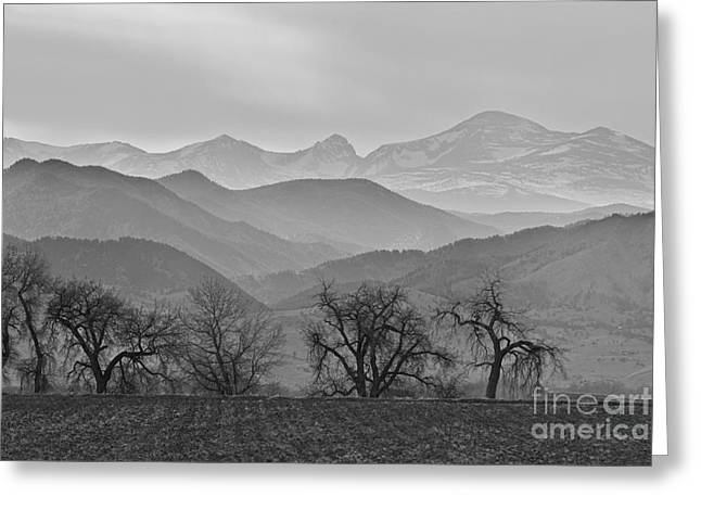 Rocky Mountain Foothills Greeting Cards - Boulder County Layers BW Greeting Card by James BO  Insogna