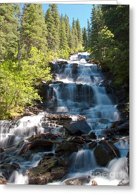 Kintla Lake Greeting Cards - Boulder Pass Falls Greeting Card by Scotts Scapes