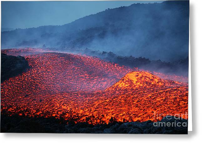 Land Feature Greeting Cards - Boulder Rolling In Lava Flow At Dusk Greeting Card by Richard Roscoe