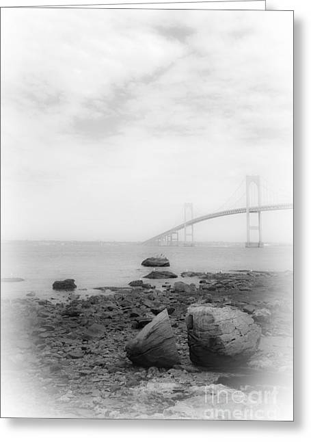 White Greeting Cards - Boulders and Bridge BW Greeting Card by Mike Nellums
