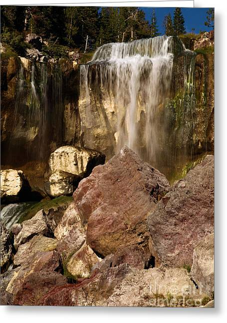 Newberry Greeting Cards - Boulders Under The Falls Greeting Card by Adam Jewell