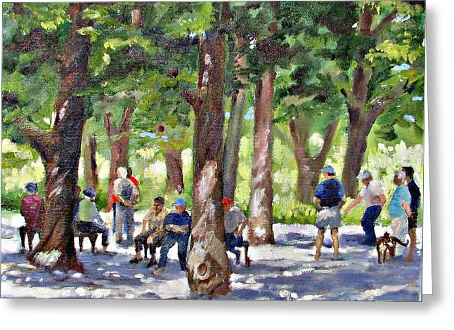 Park Scene Paintings Greeting Cards - Boule Games Greeting Card by Podi Lawrence