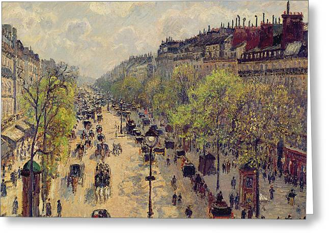 Carriage Greeting Cards - Boulevard Montmartre Greeting Card by Camille Pissarro