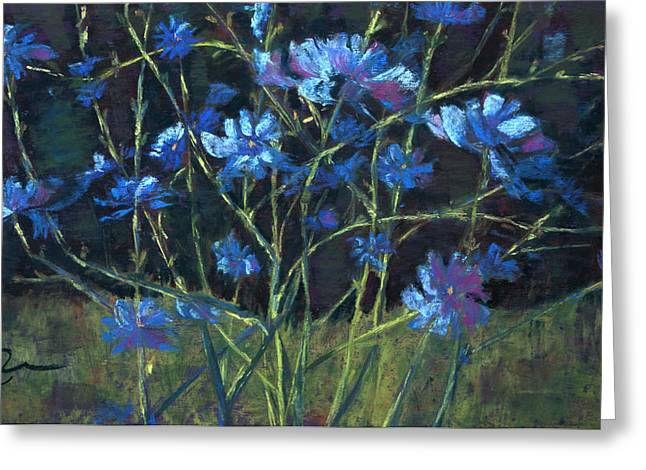 Blue Flowers Pastels Greeting Cards - Bouncing Chicory Greeting Card by Cheryl Whitehall