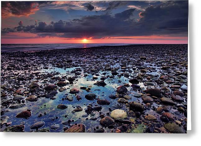 Rocky Beach Greeting Cards - Bound Brook Sunset III Greeting Card by Rick Berk
