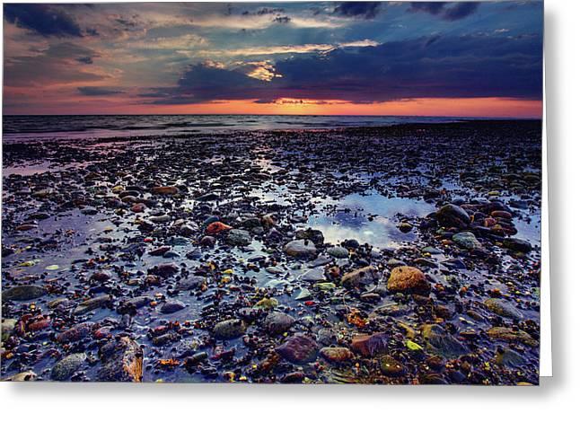 Rocky Beach Greeting Cards - Bound Brook Sunset Greeting Card by Rick Berk