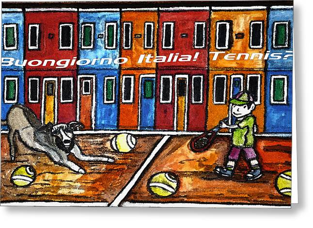 Tennis Drawings Greeting Cards - Bounjiorno Italia Tennis Greeting Card by Monica Engeler