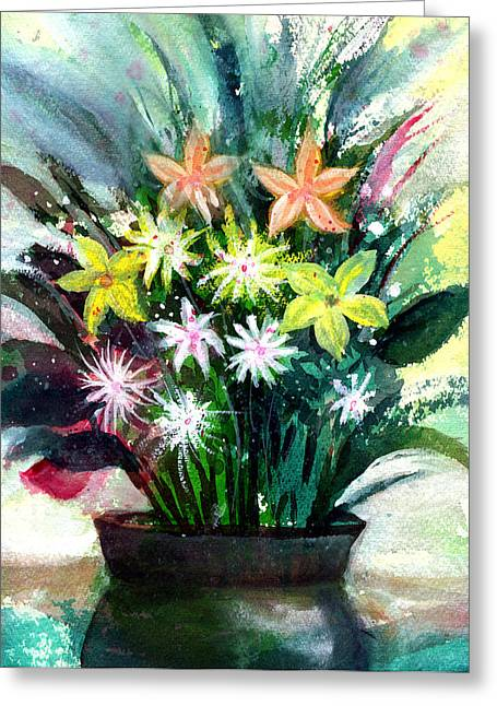 Anil Nene Greeting Cards - Bouquet 2 Greeting Card by Anil Nene