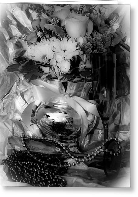 New Year Greeting Cards - Bouquet and Beads BW Greeting Card by DigiArt Diaries by Vicky B Fuller