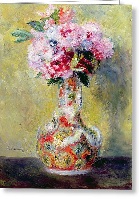 Still-life With Flowers Greeting Cards - Bouquet in a Vase Greeting Card by Pierre Auguste Renoir