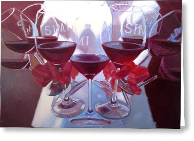 Cellar Greeting Cards - Bouquet of Cabernet Greeting Card by Penelope Moore
