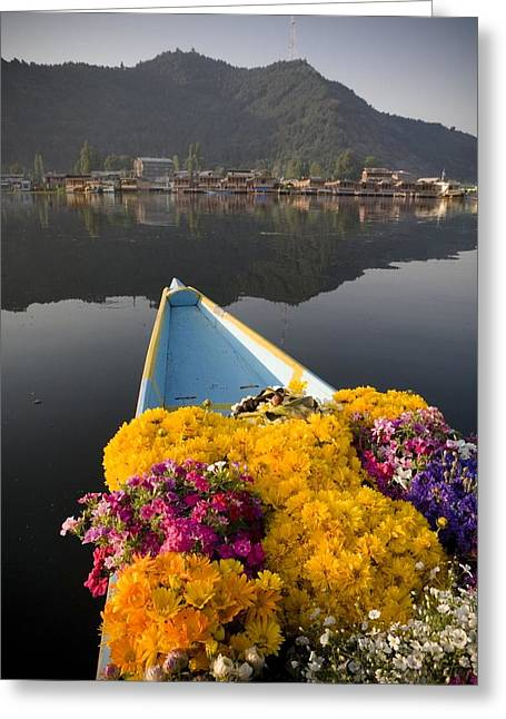 Dal Lake Greeting Cards - Bouquet Of Flowers In Bow Of Boat Dal Greeting Card by David DuChemin