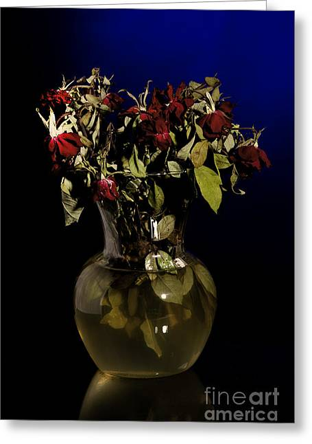 Flowers Stretched Prints Greeting Cards - Bouquet of wilted Faded Love Roses Greeting Card by M K  Miller